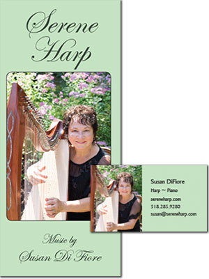 Serene Harp Brochure and Business Card